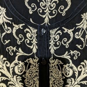 Johnny Was embroidered silky tunic top